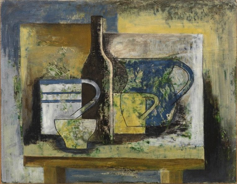 Composition with Bowl, Two Mugs, Bottle and Jug