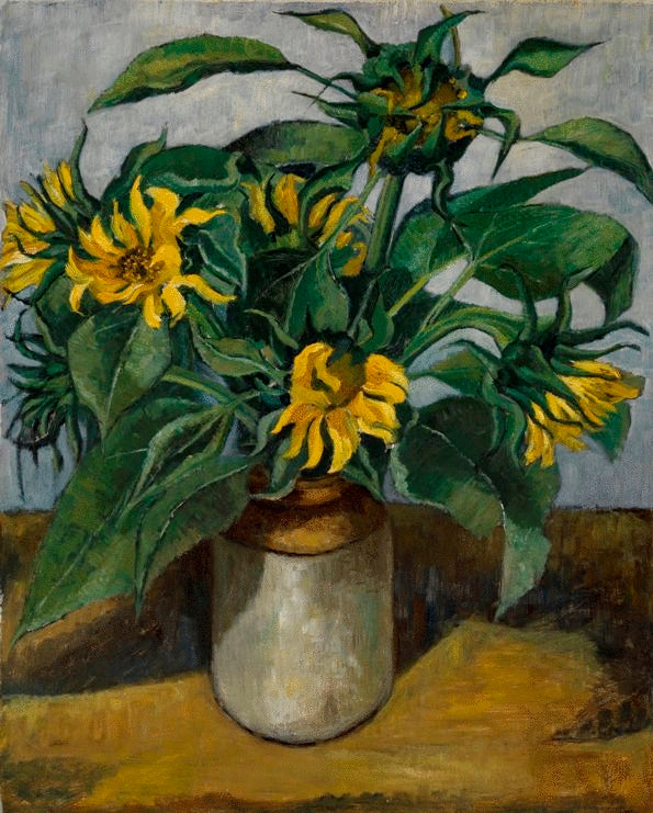 Sunflowers In Brown and White Crock