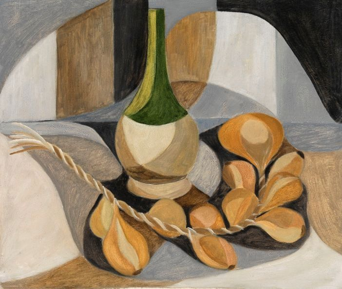 Composition With A String of Shallots and Wine Bottle