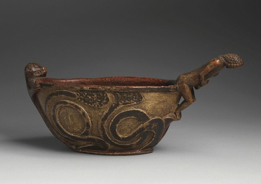 Rare Early Figure Carved Ceremonial Drinking Bowl