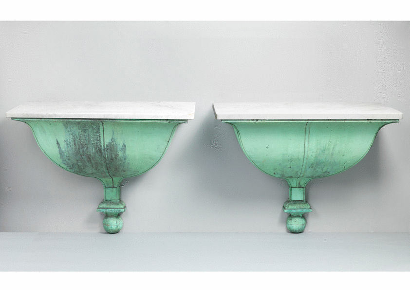 Pair of Gustavian Demi Lune Console Tables