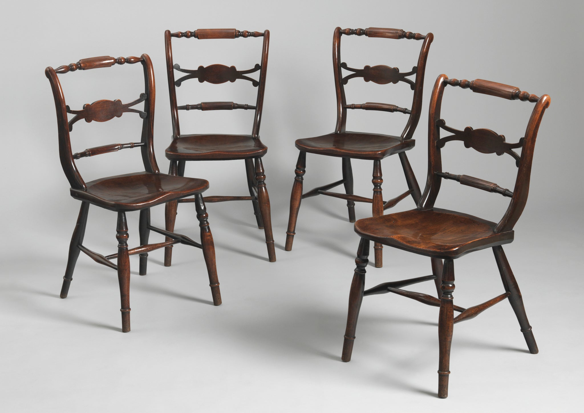 Fine Set of Four Bar Back Windsor Chairs