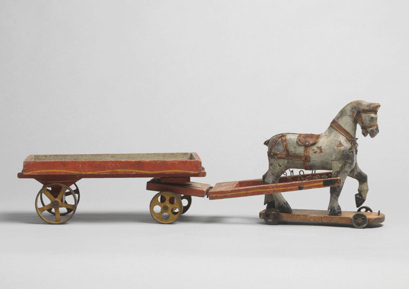 Sculptural Folk Art Horse & Cart Toy