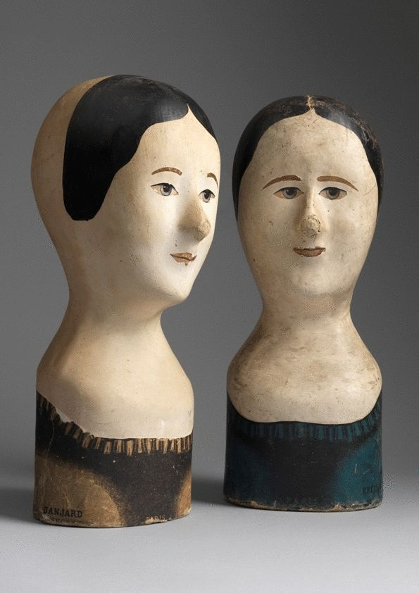"Two Female Form Milliners Heads or ""Marottes"""