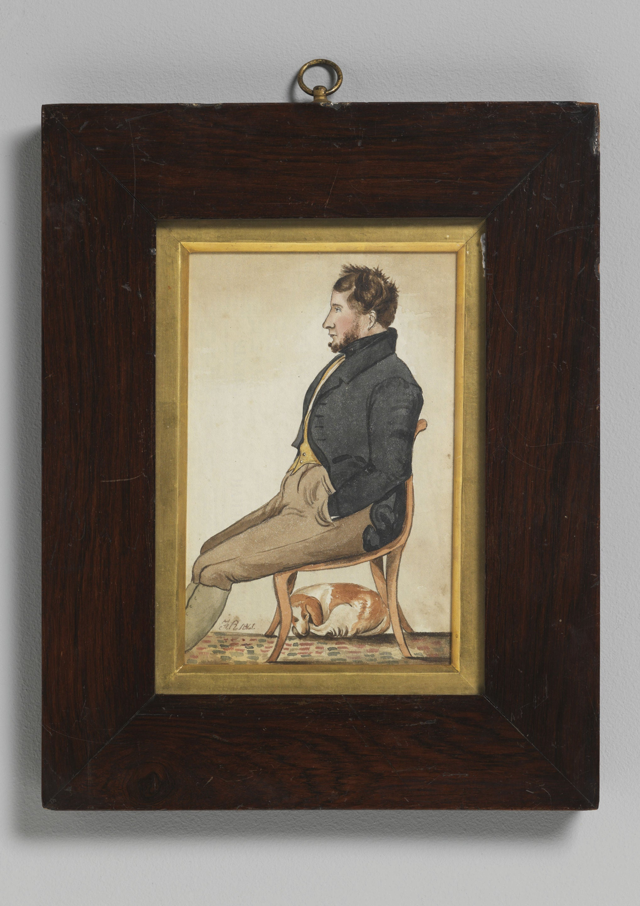 Seated Man With His Dog