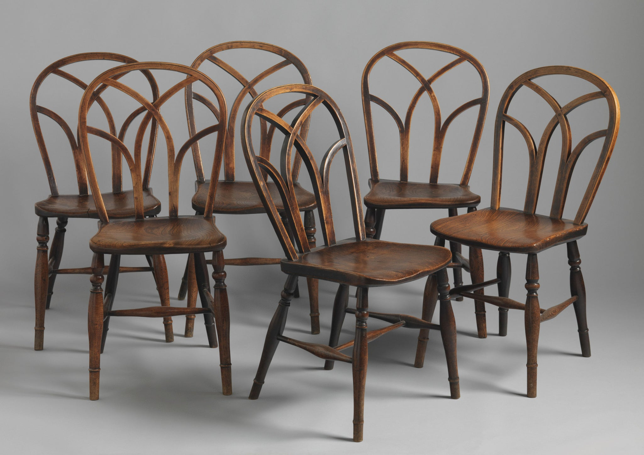 Harlequin Set of Six Gothic Lace Back Windsor Chairs