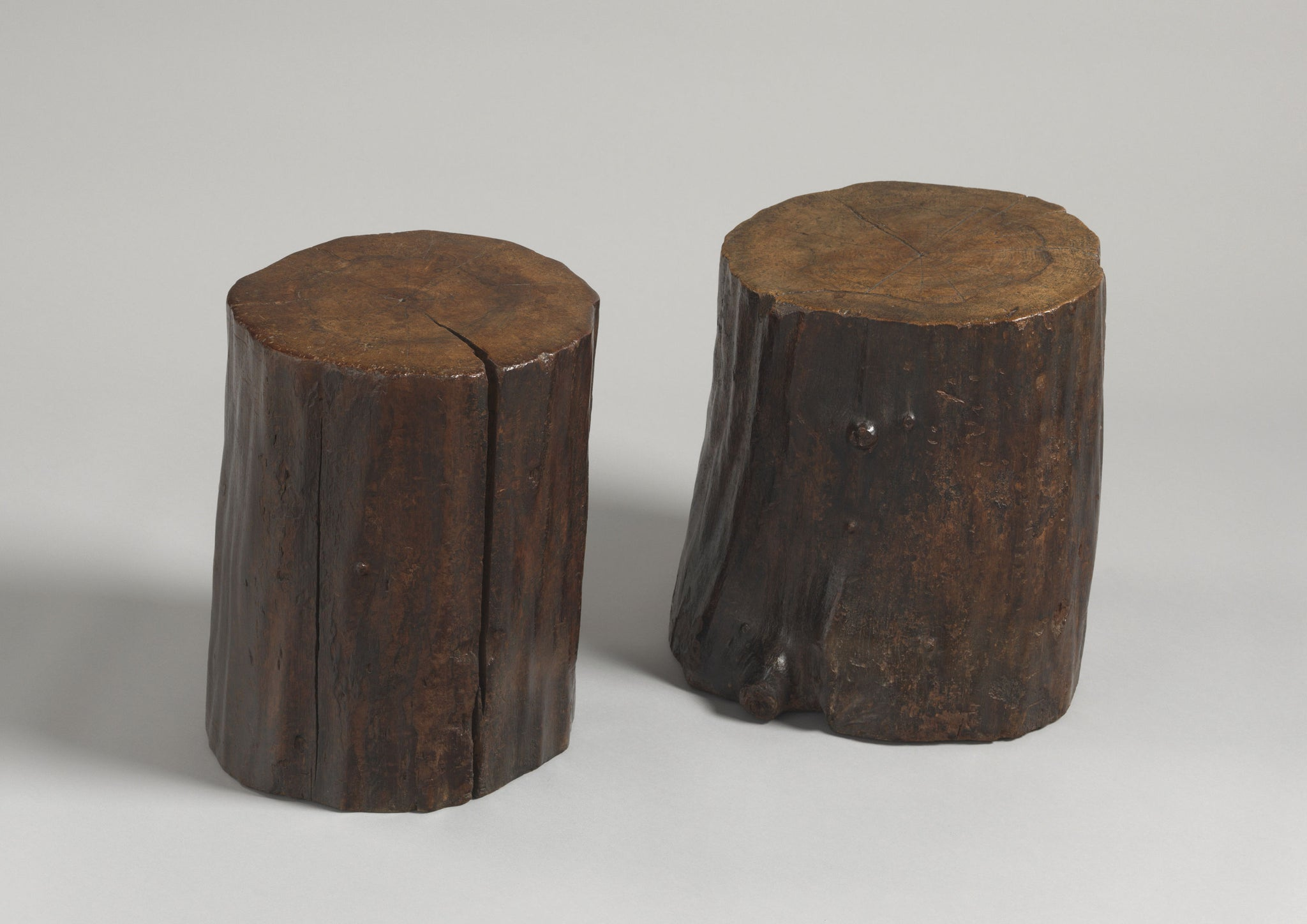 Two Unusual Naturalistic Tree Trunk Tavern Stools