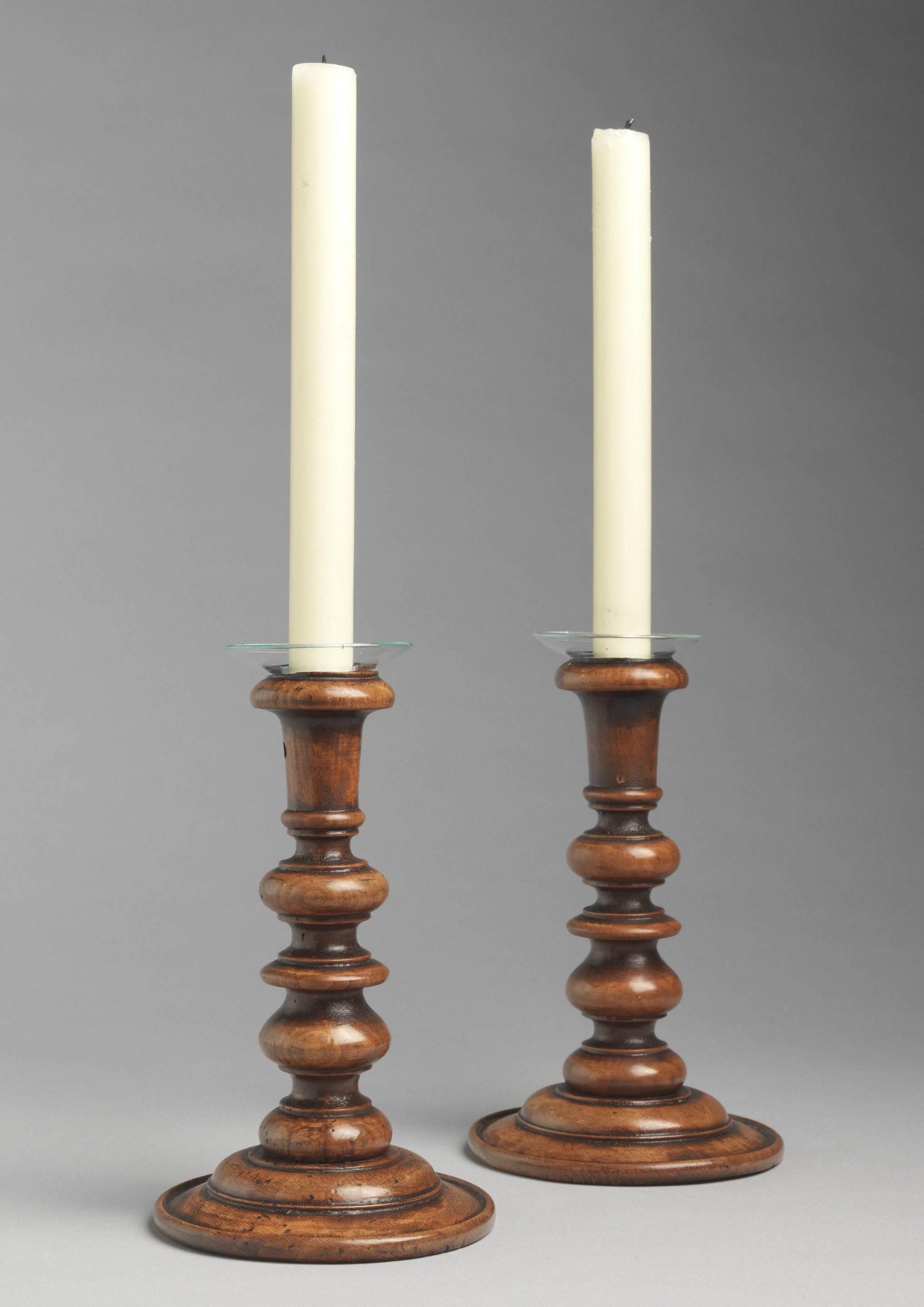 Finely Turned Treenware Candlesticks