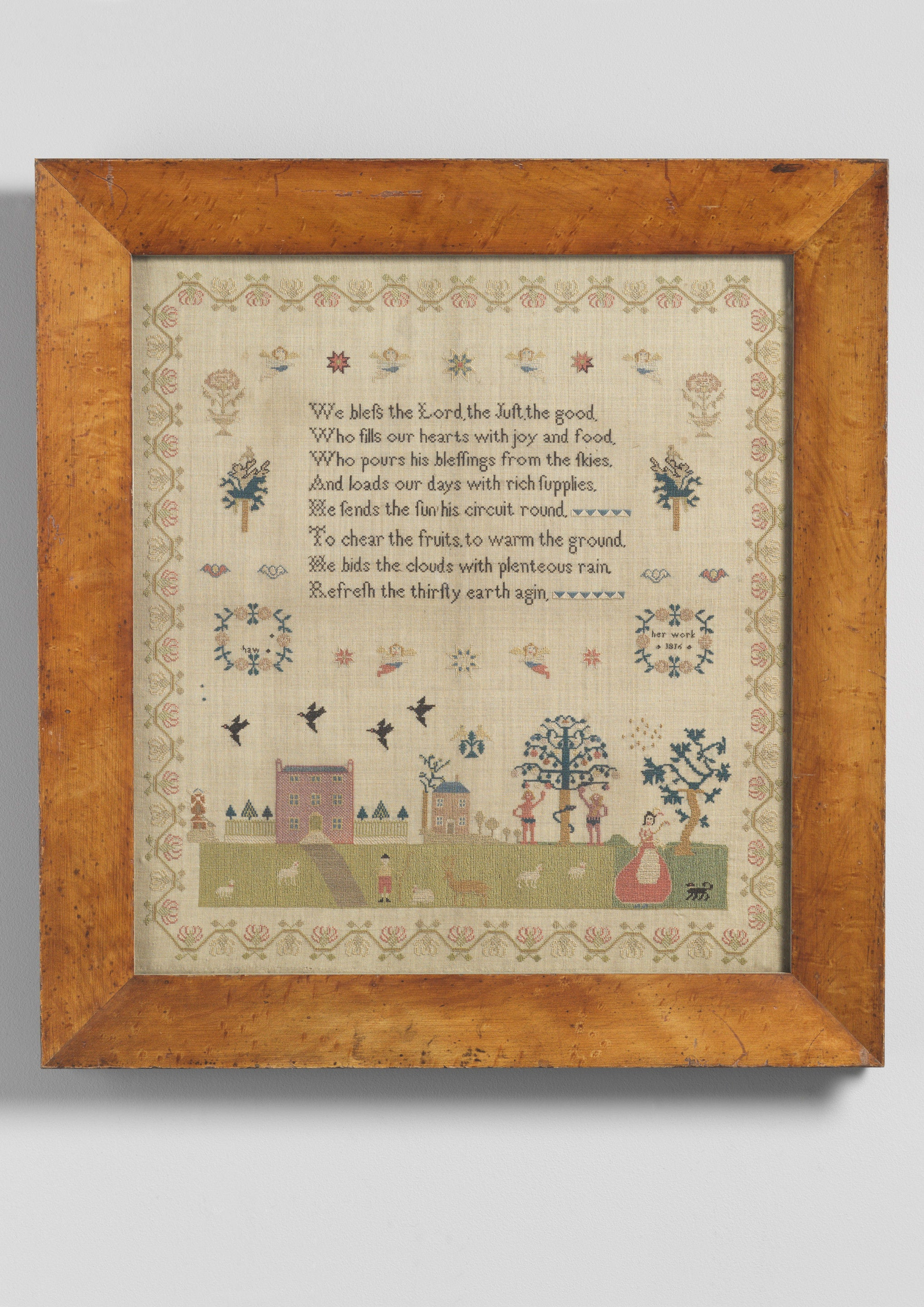 Fine Pictorial Needlework Sampler