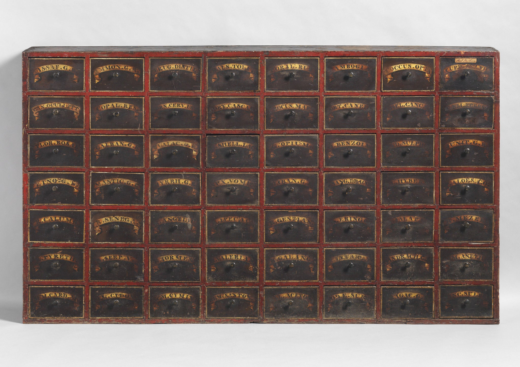 Exceptional Nest of 48 Apothecary Drawers