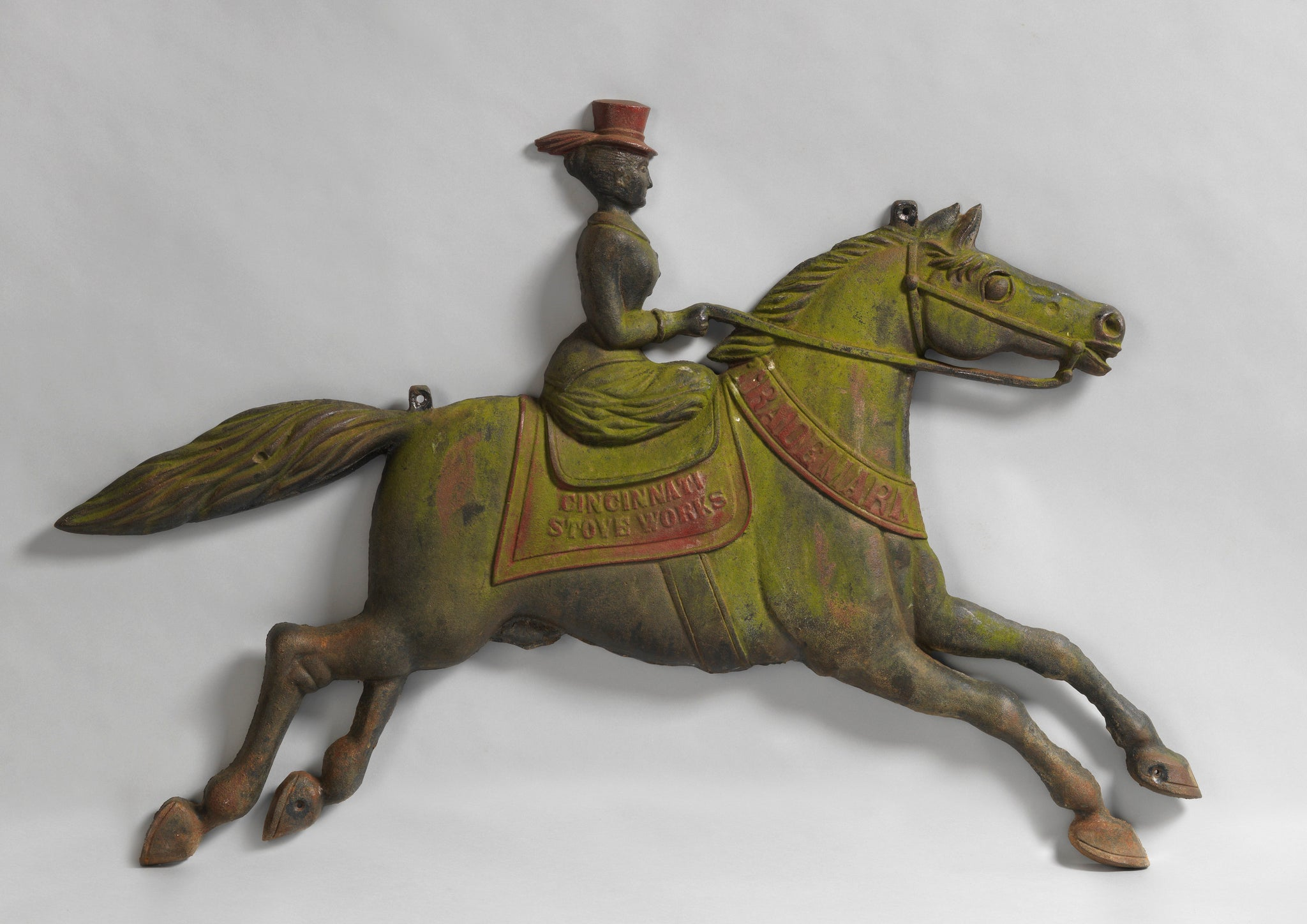 Running Horse With Lady Rider Trade Sign