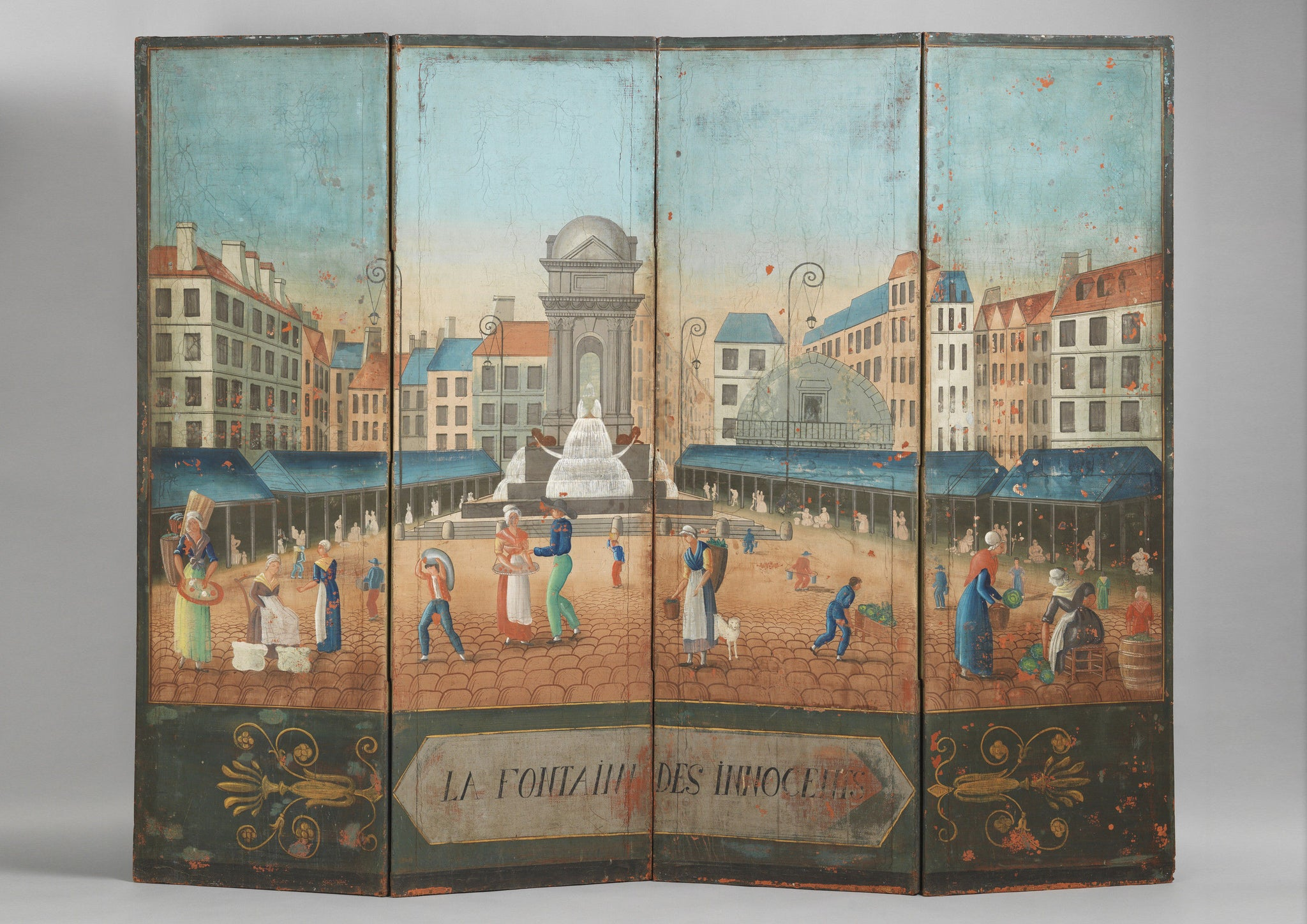 Naive Folk Art Decorated Screen 'La Fontaine Des Innocents'