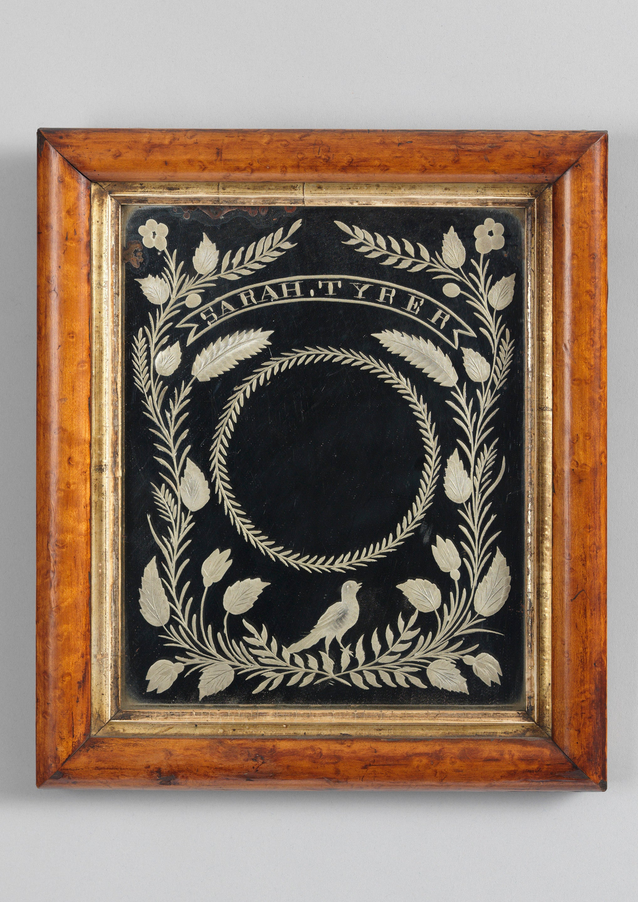 Rare Folk Art Courting Mirror