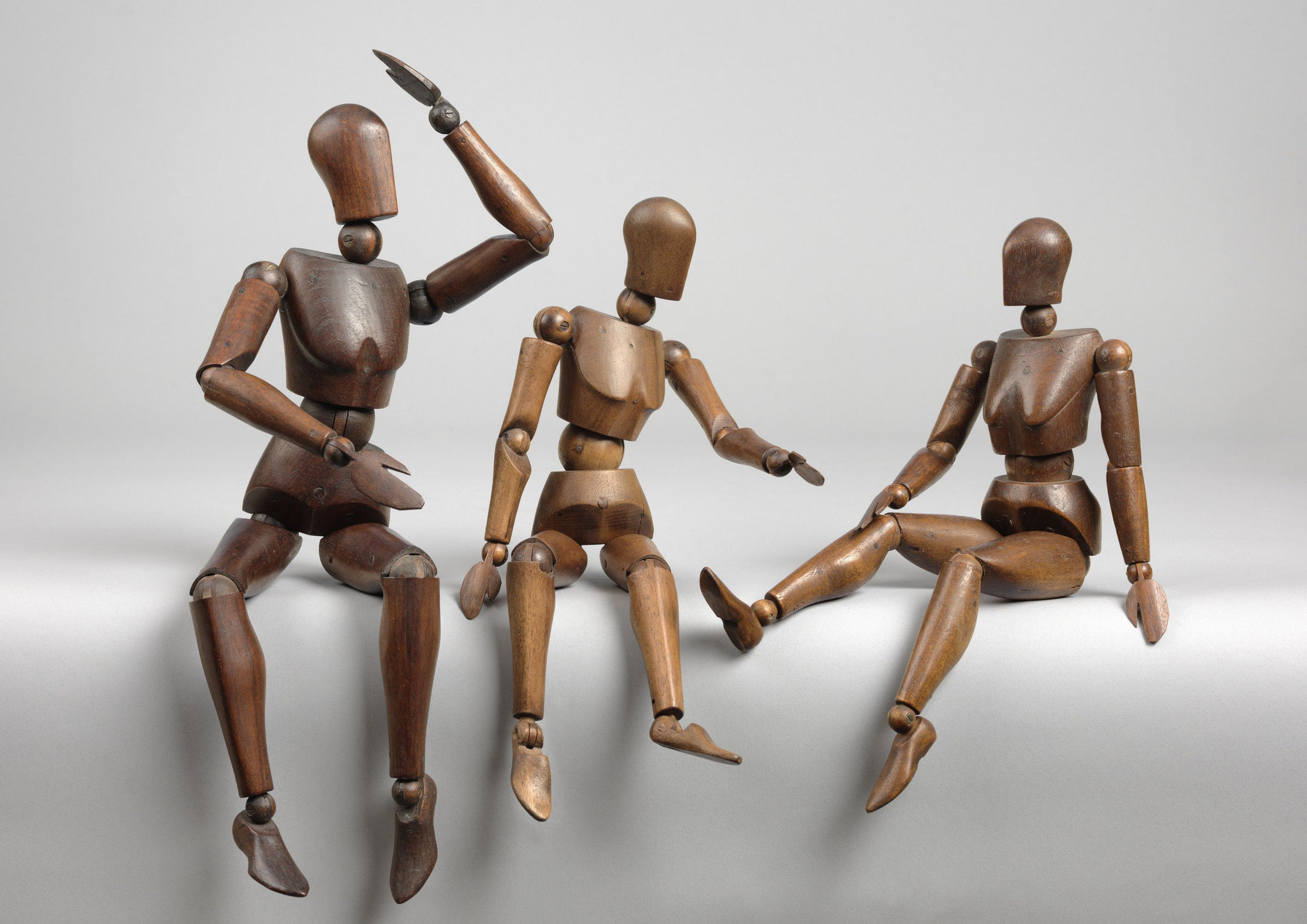 Three  Original Articulated Artist's Mannequins or ' Lay' Figures