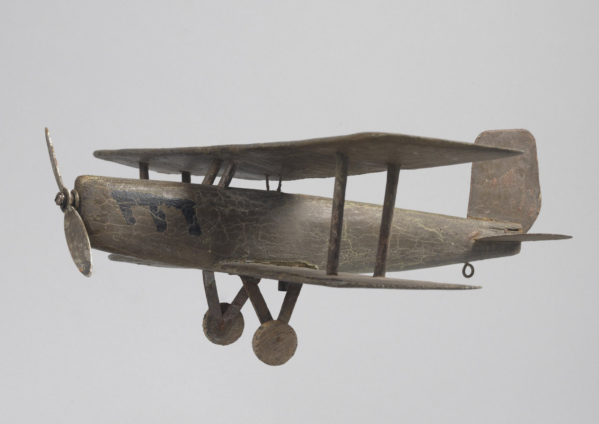 Unusual Folk Art Bi-Plane Weathevane