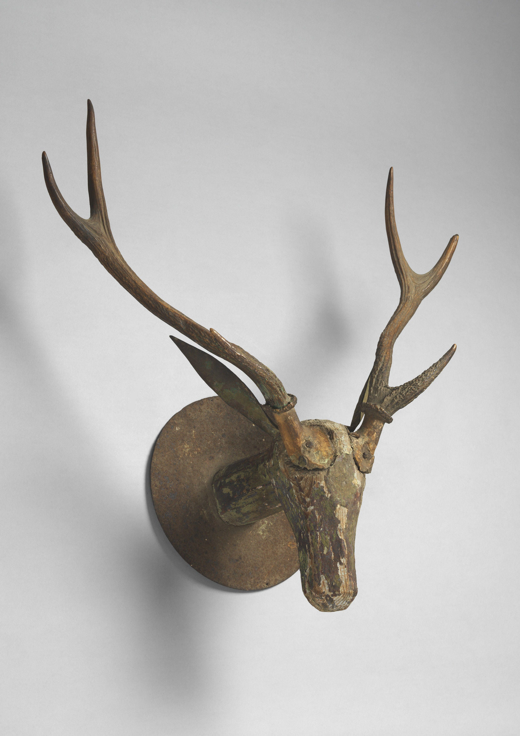 Rare Primitive Sculptural Stag's Head Trophy