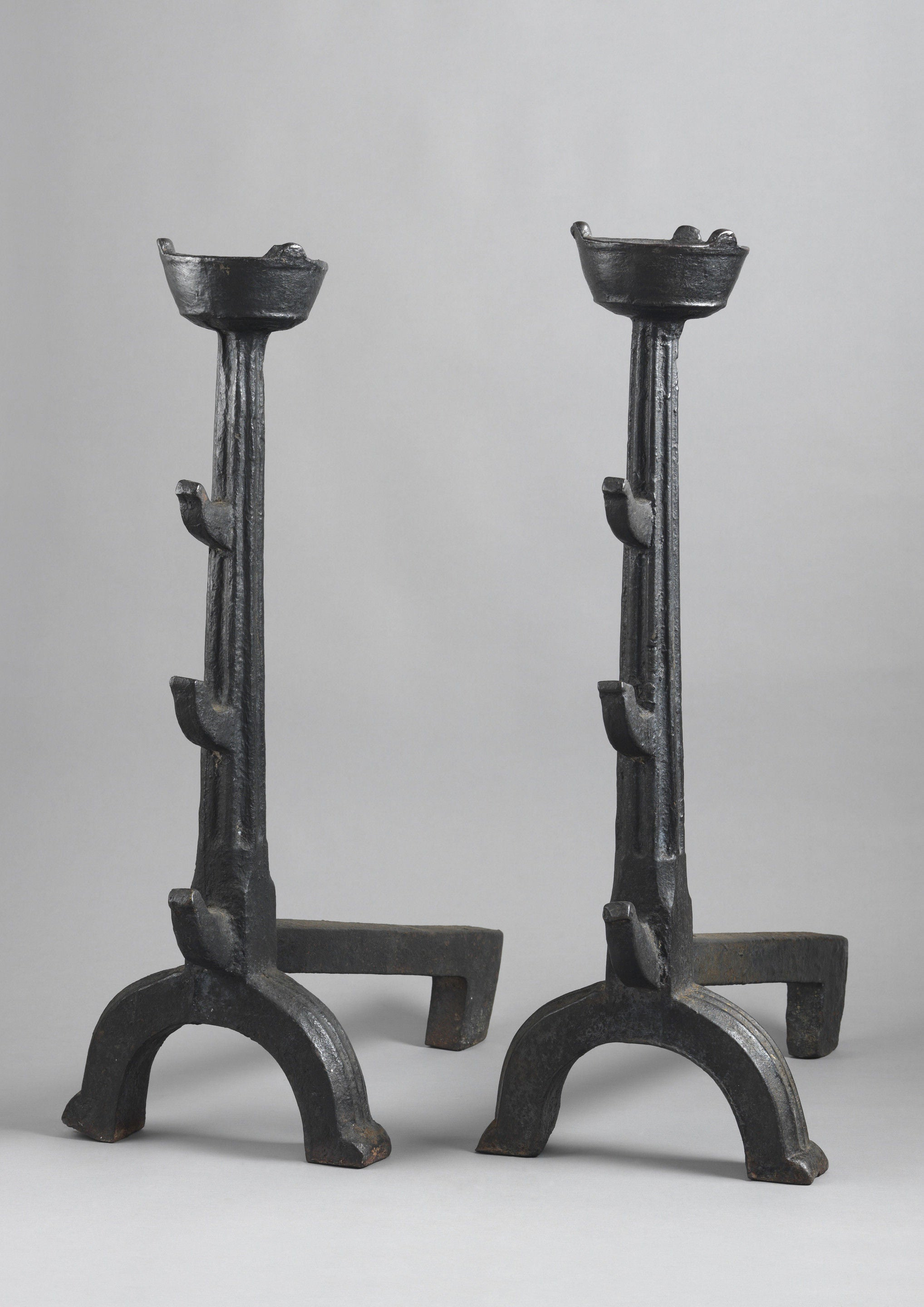 Monumental Early Andirons or Fire Dogs