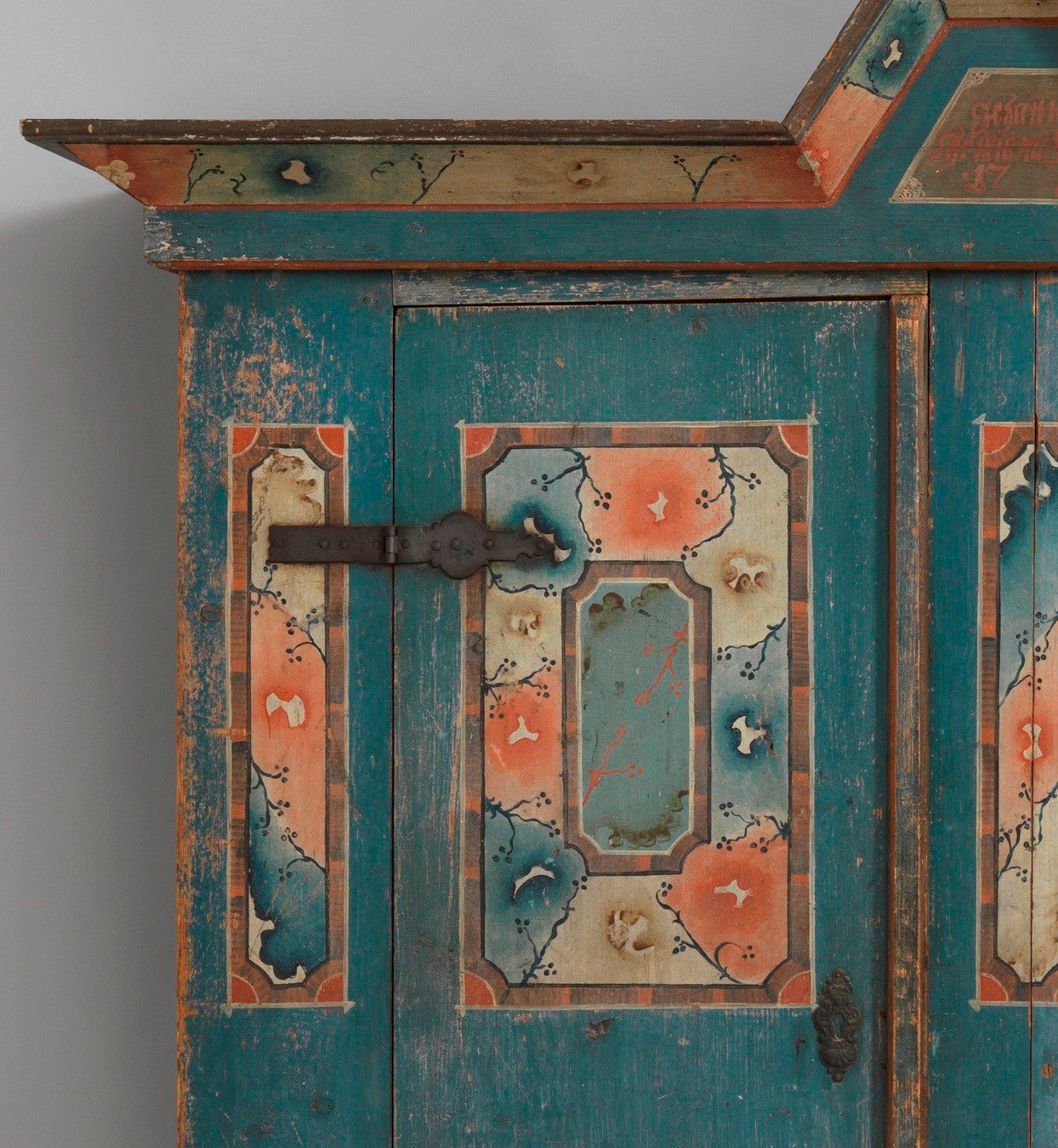 Remarkable Arch Pediment Folk Art Marriage Cupboard