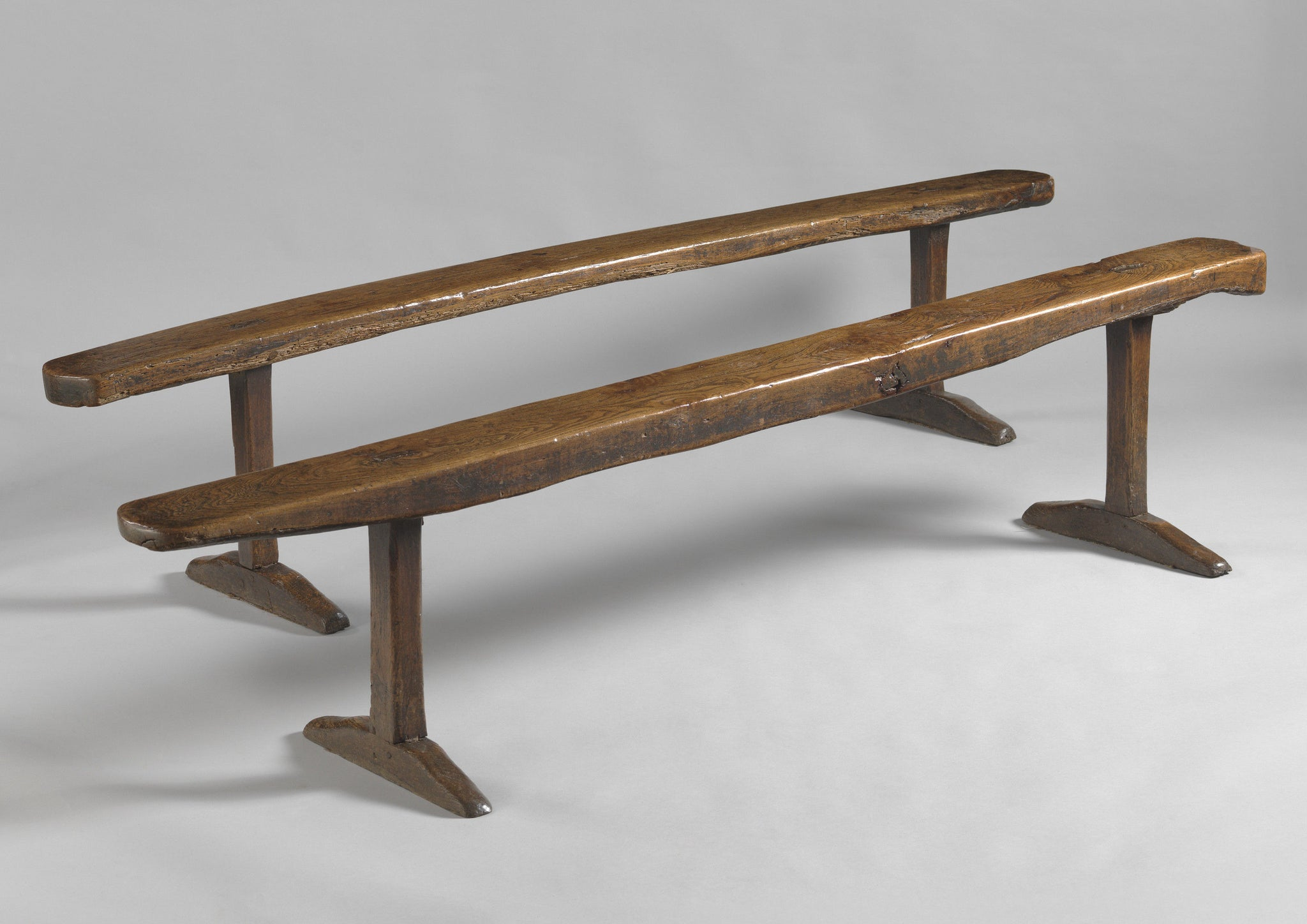 "Fine Graphic Pair Of  Early ""T"" Trestle Benches"