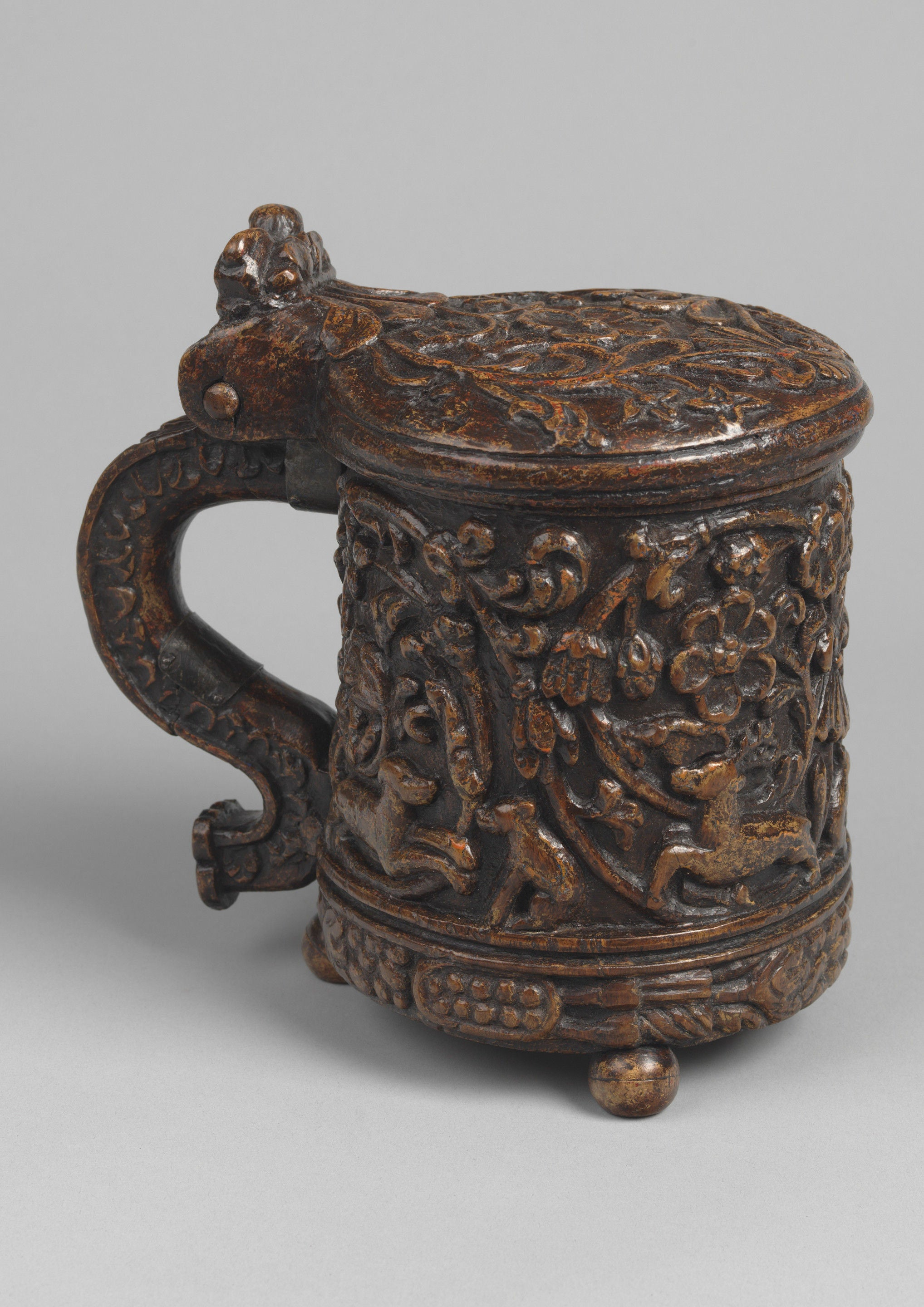 Exceptional Early Figure Carved Ceremonial Tankard