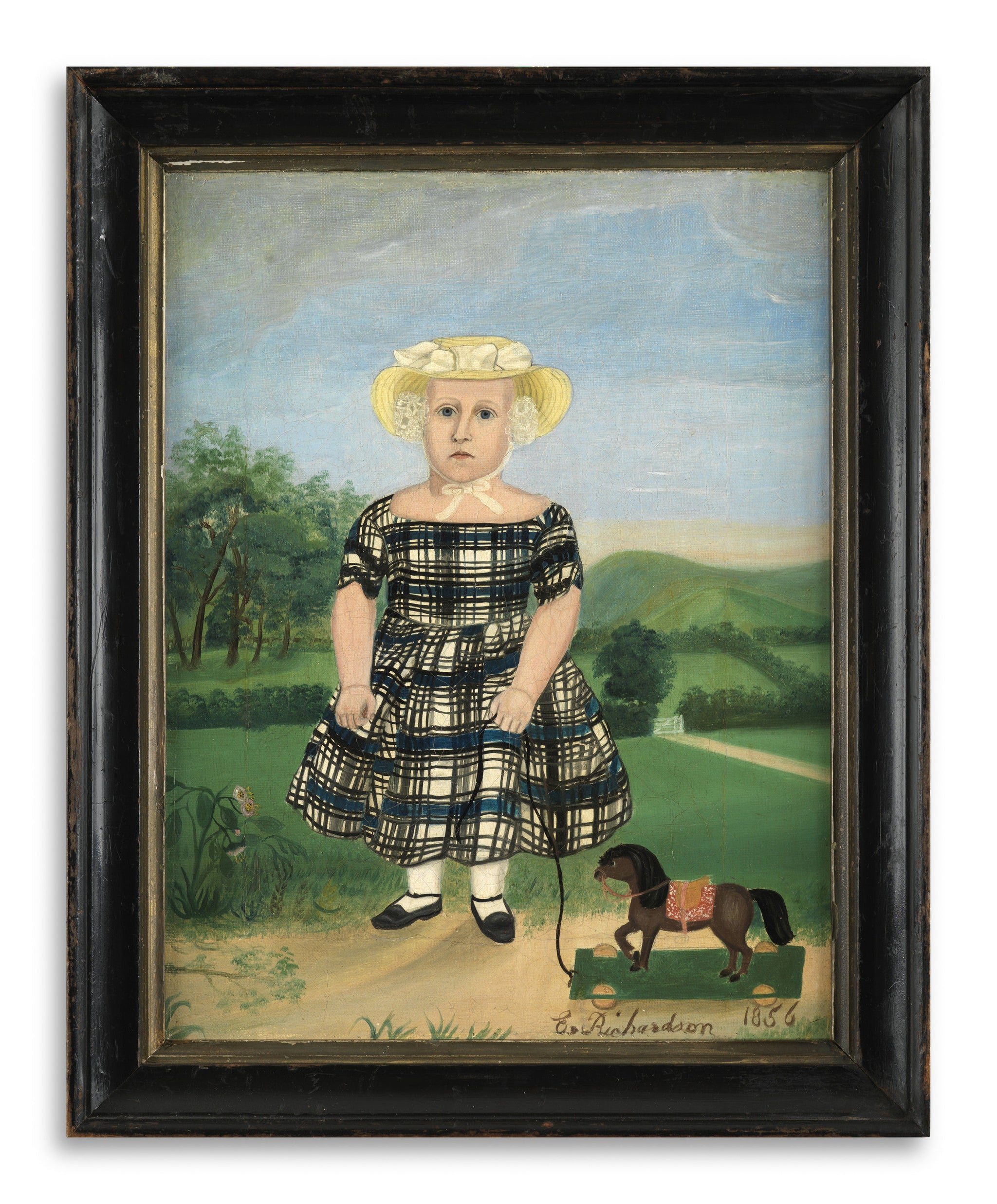 Fine Naive Portrait of a Child With a Horse Pull Toy