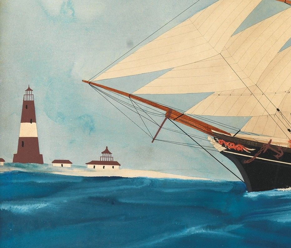 """Cimbri and a Pilot Vessel Under Sail Before a Lighthouse"""