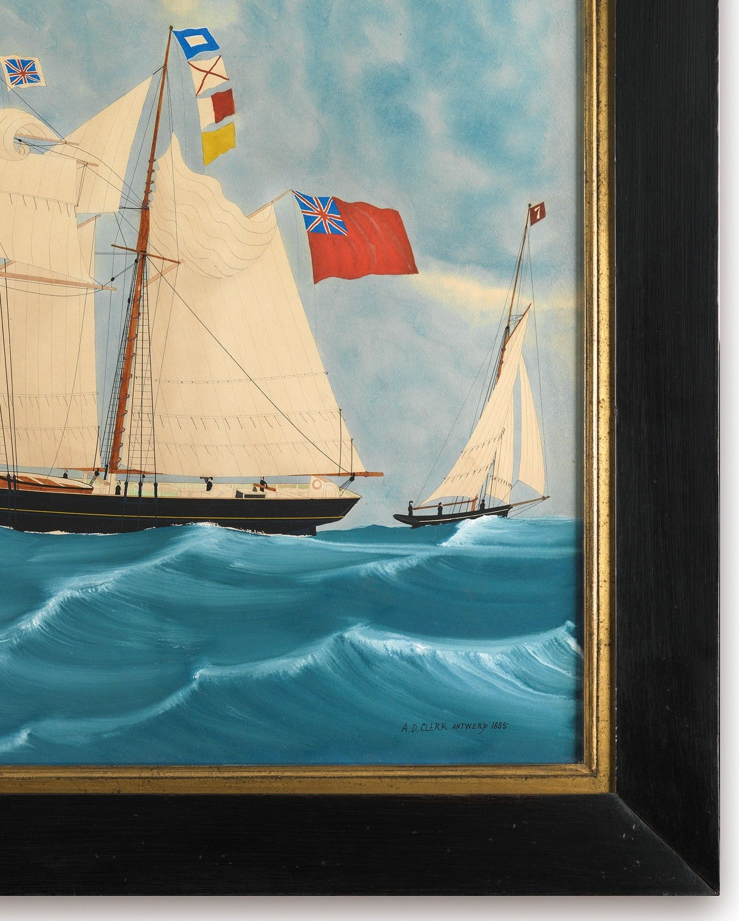 Two Sailing Boats by West Hinder Lightship