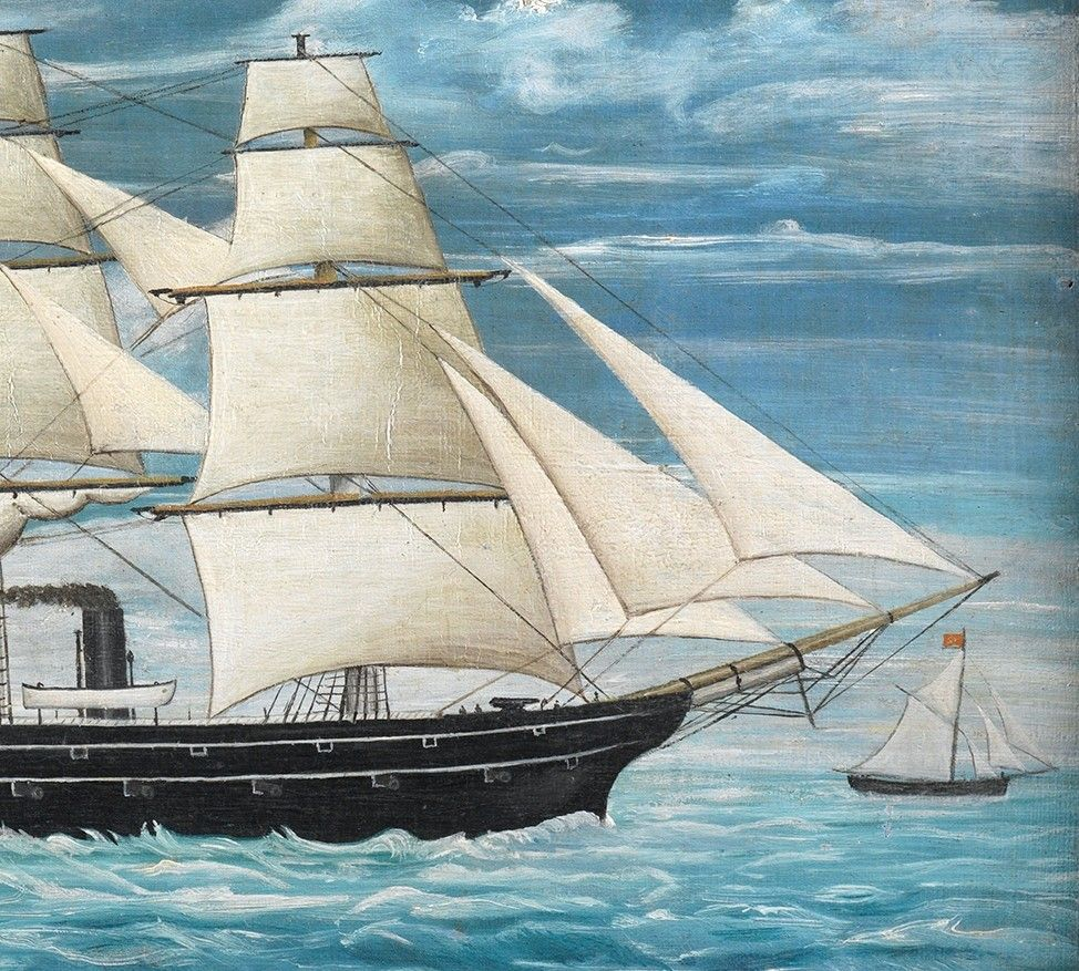 Three Masted Steam Ship In Full Sail, Flying The Stars and Stripes