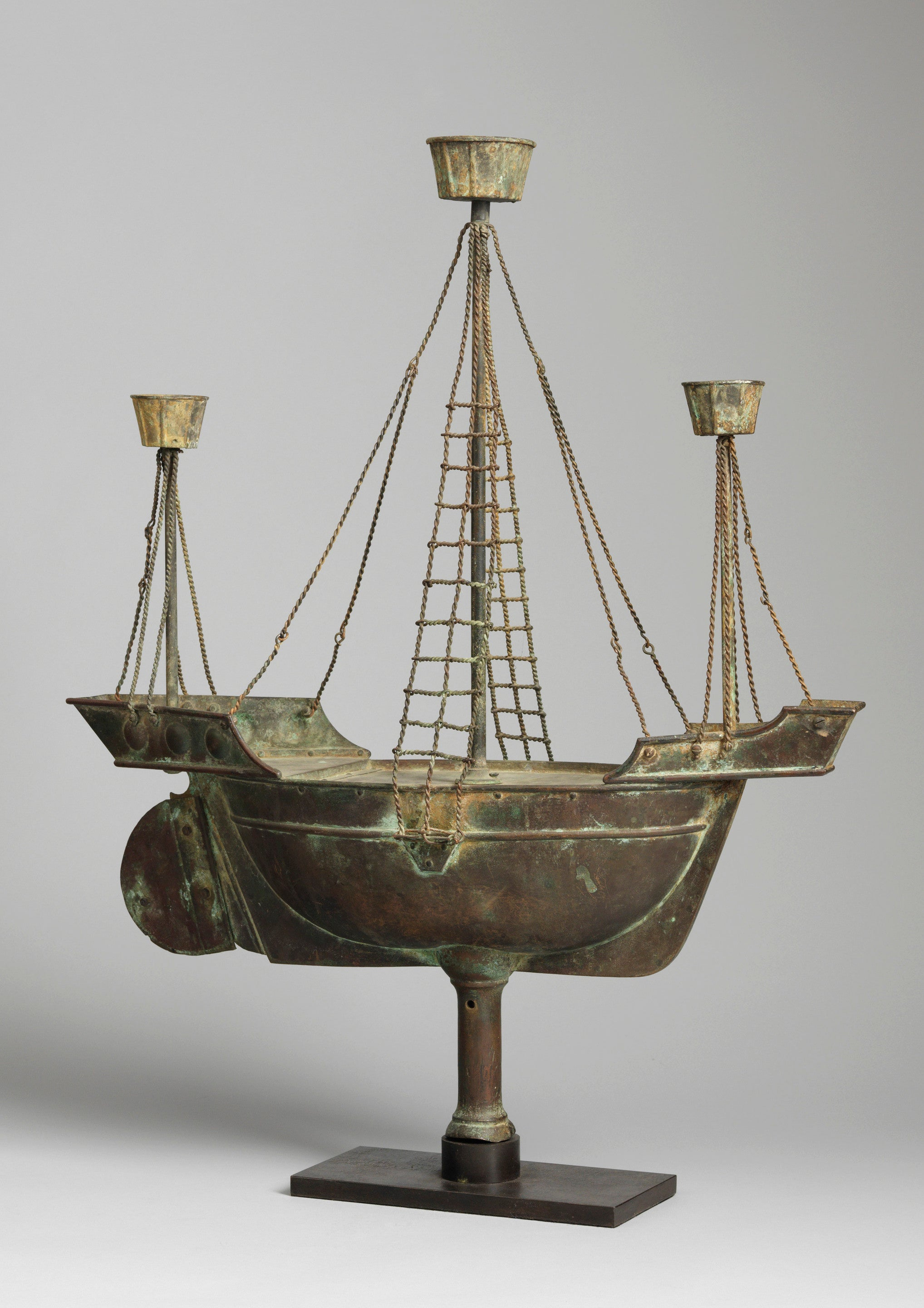 Rare Full Bodied Twin Masted Ship Weathervane