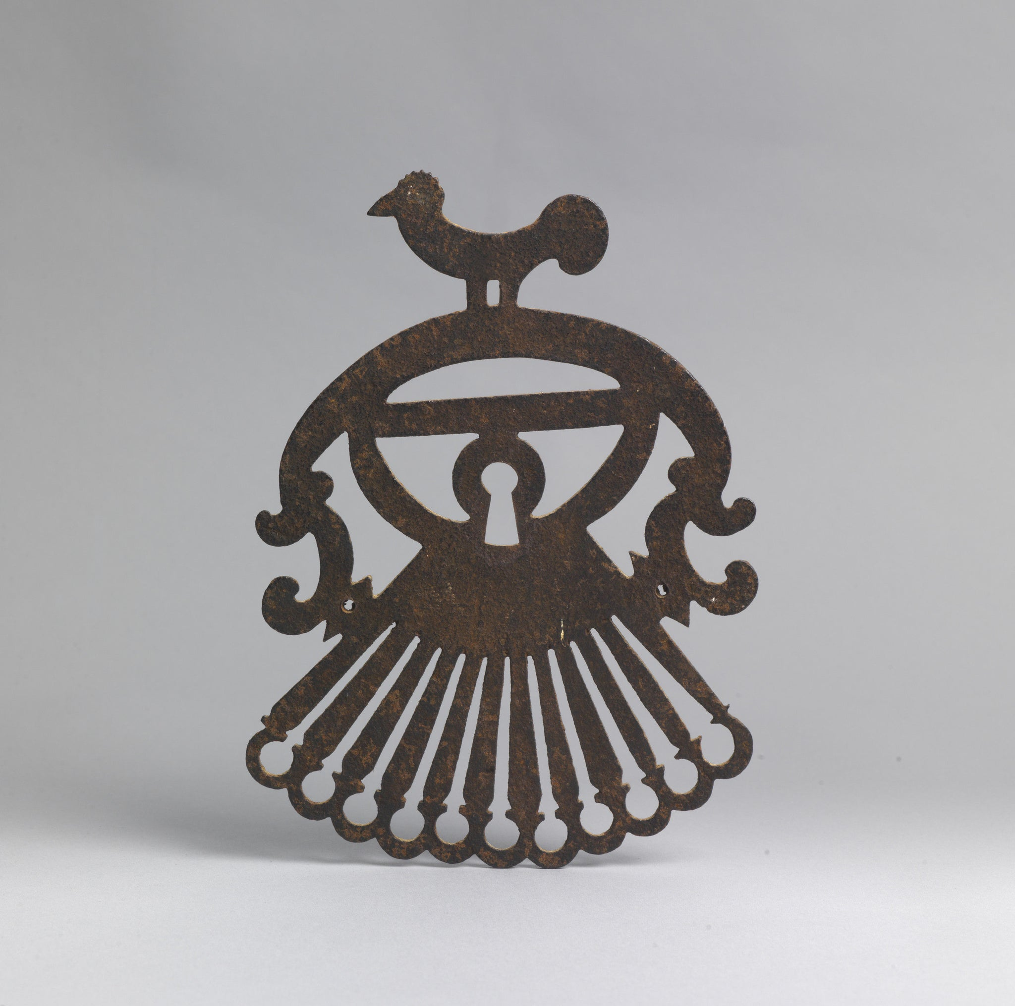 Large Graphic Escutcheon With Stylised Bird Cresting
