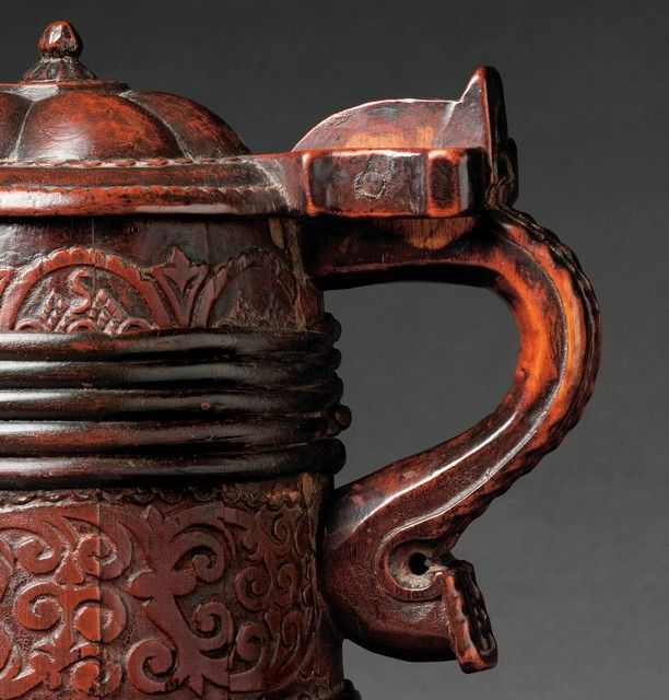 Fine Early Carved Coopered  Peg Tankard with 'Jelly Mould Lid'