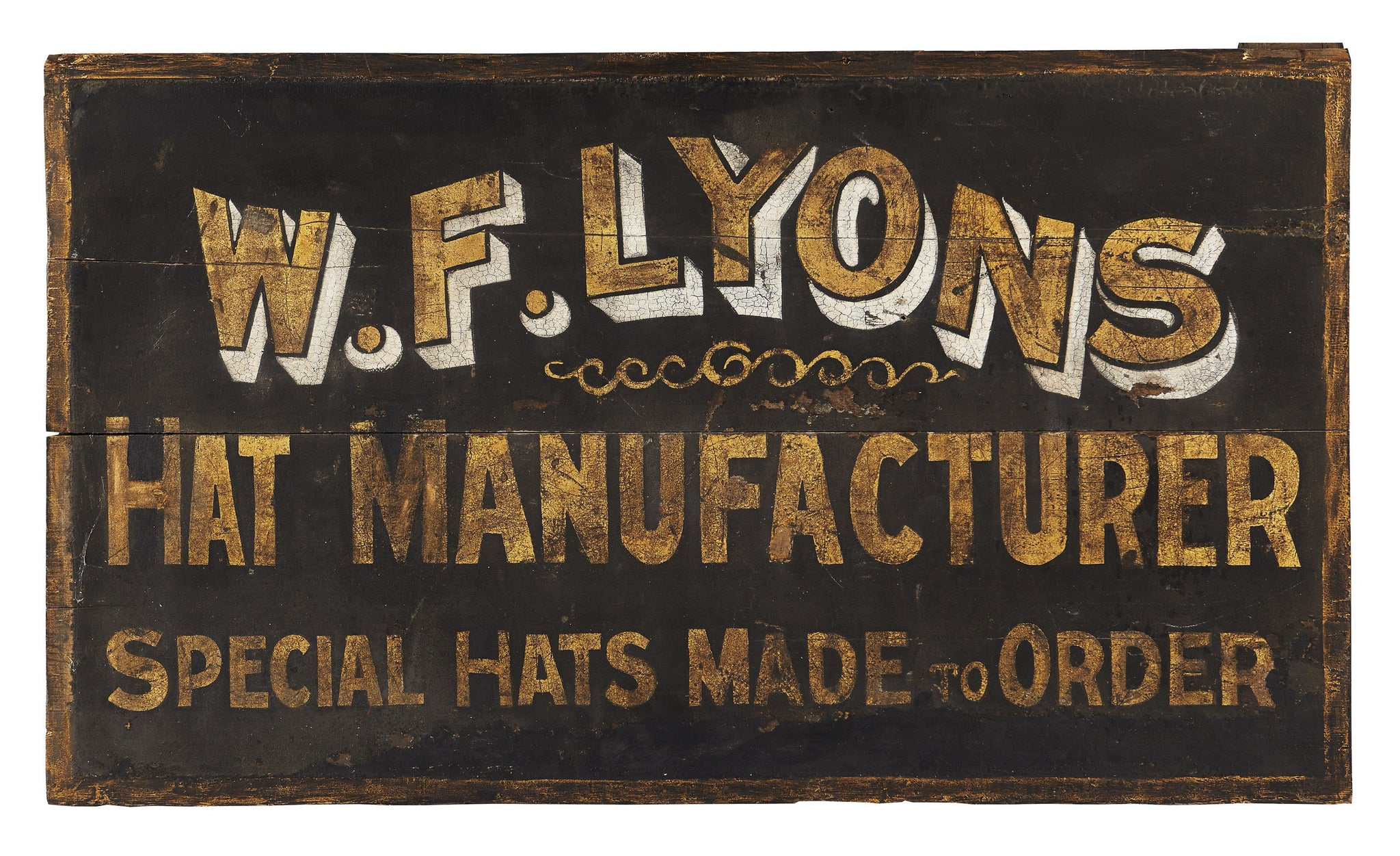 W F LYONS, Hat Maker's Trade Sign