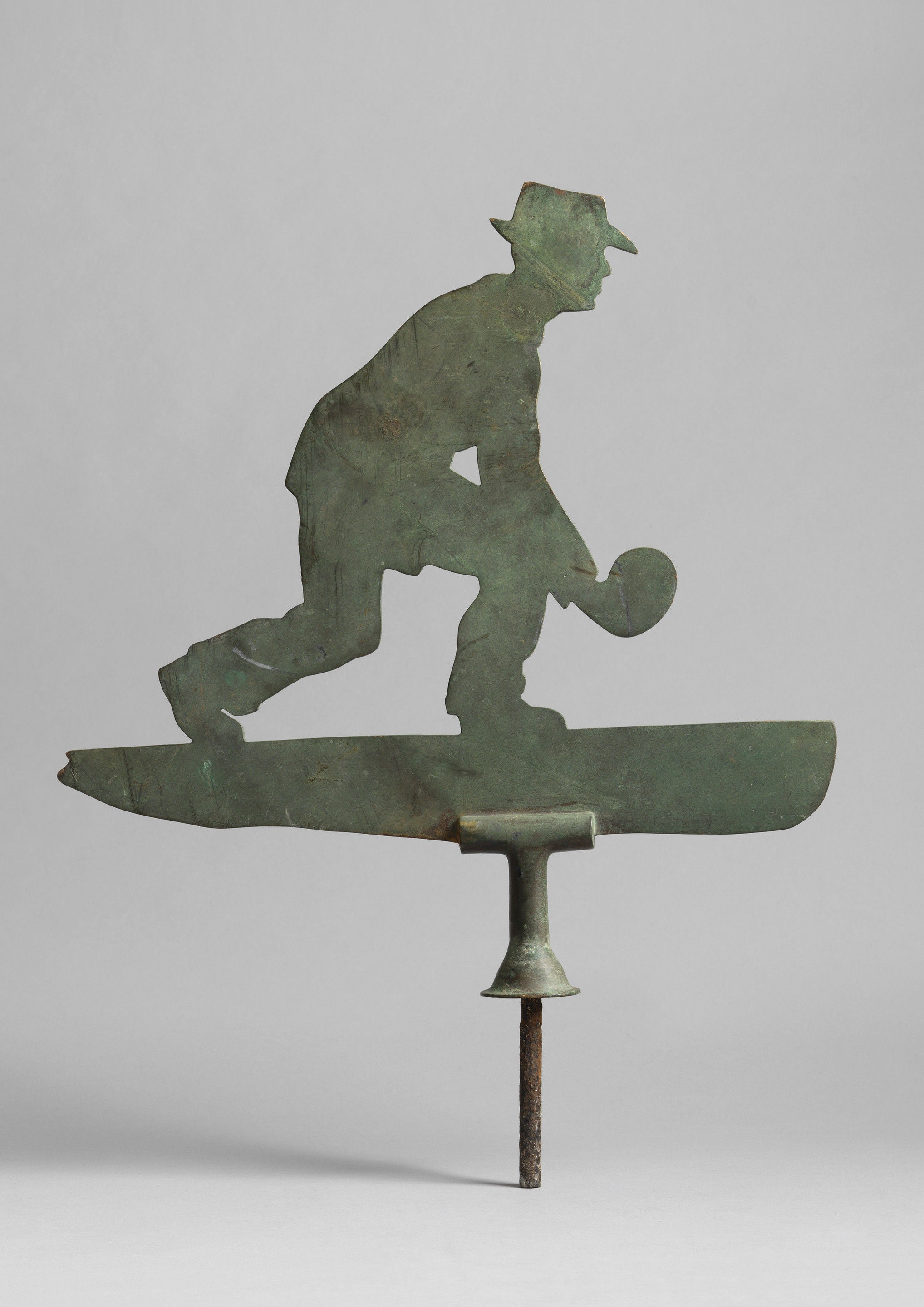 Fine Silhouette Weathervane of a Man Bowling