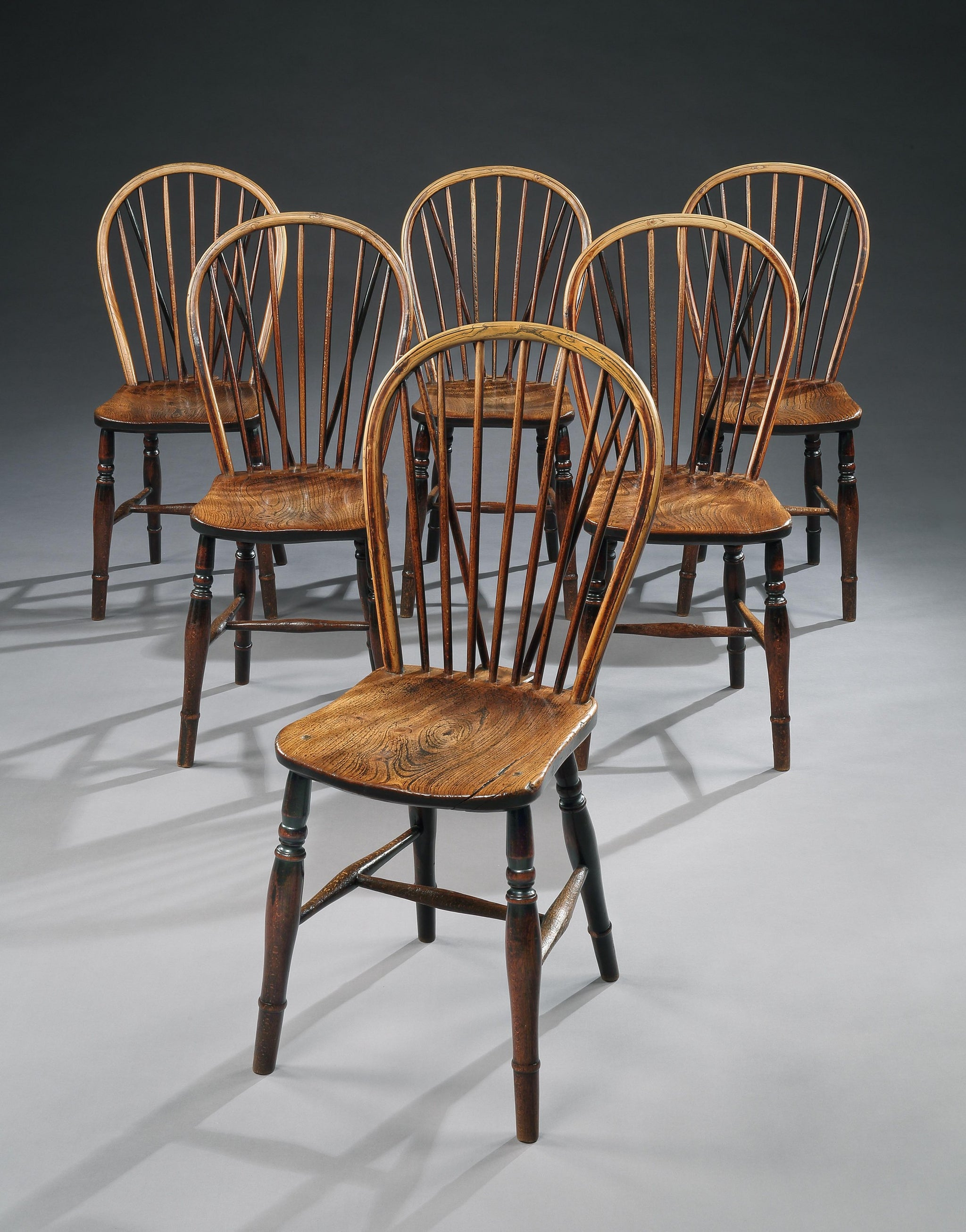Genuine Set of Six Georgian Bow Backed Windsor Chairs