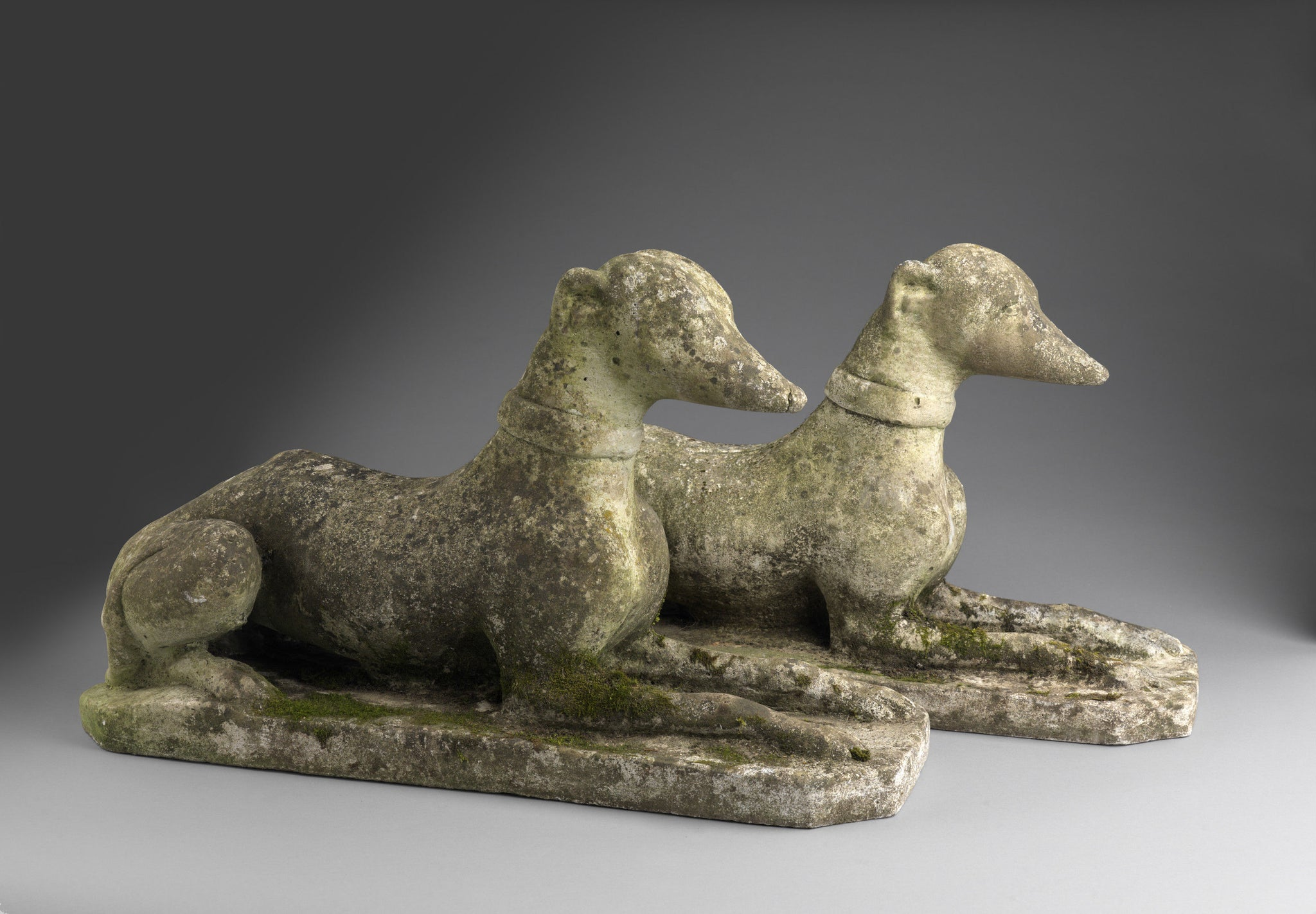 Pair of Recumbent Whippets