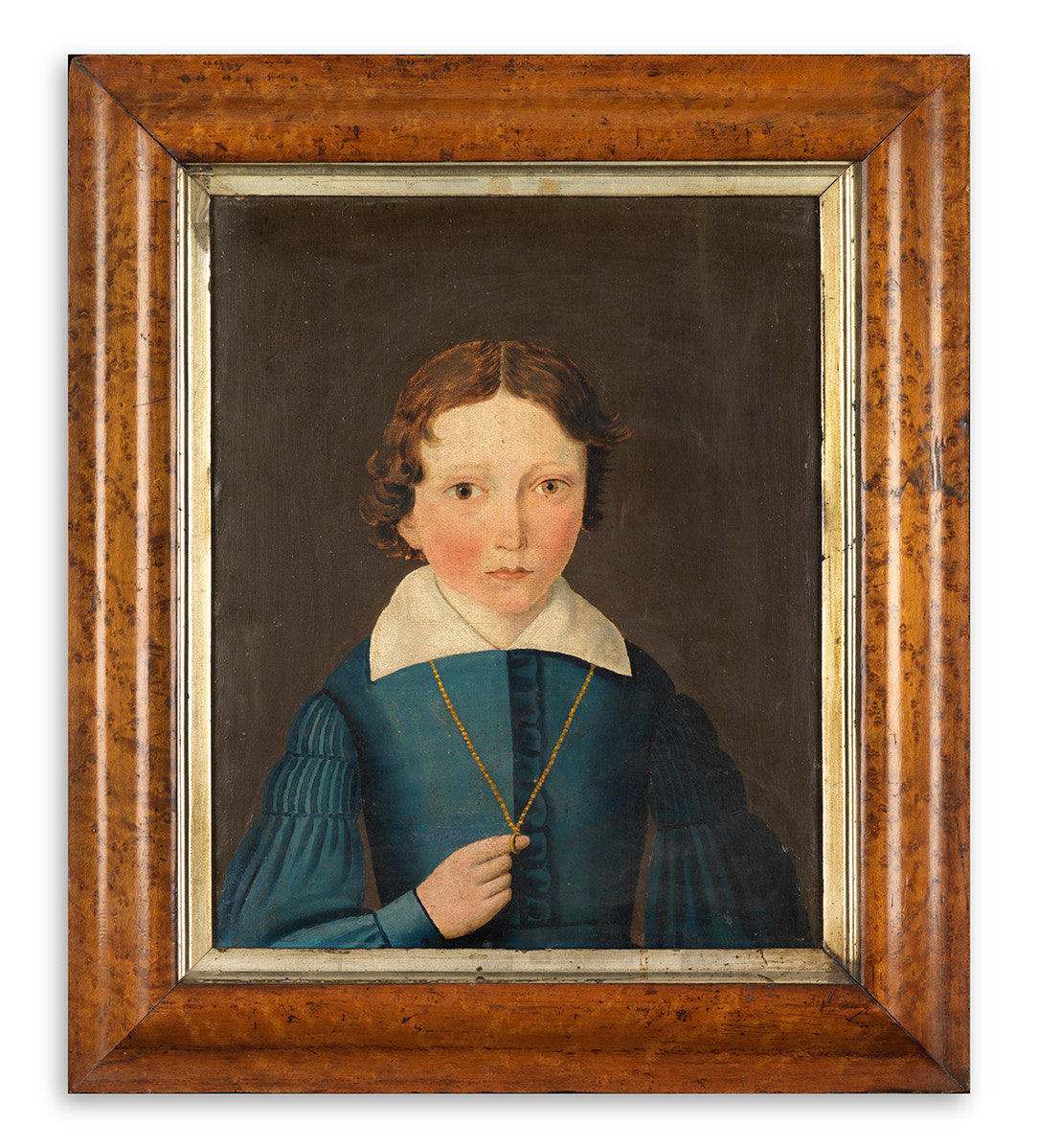Primitive Portrait of a Young Man in Blue Coat and White Collar