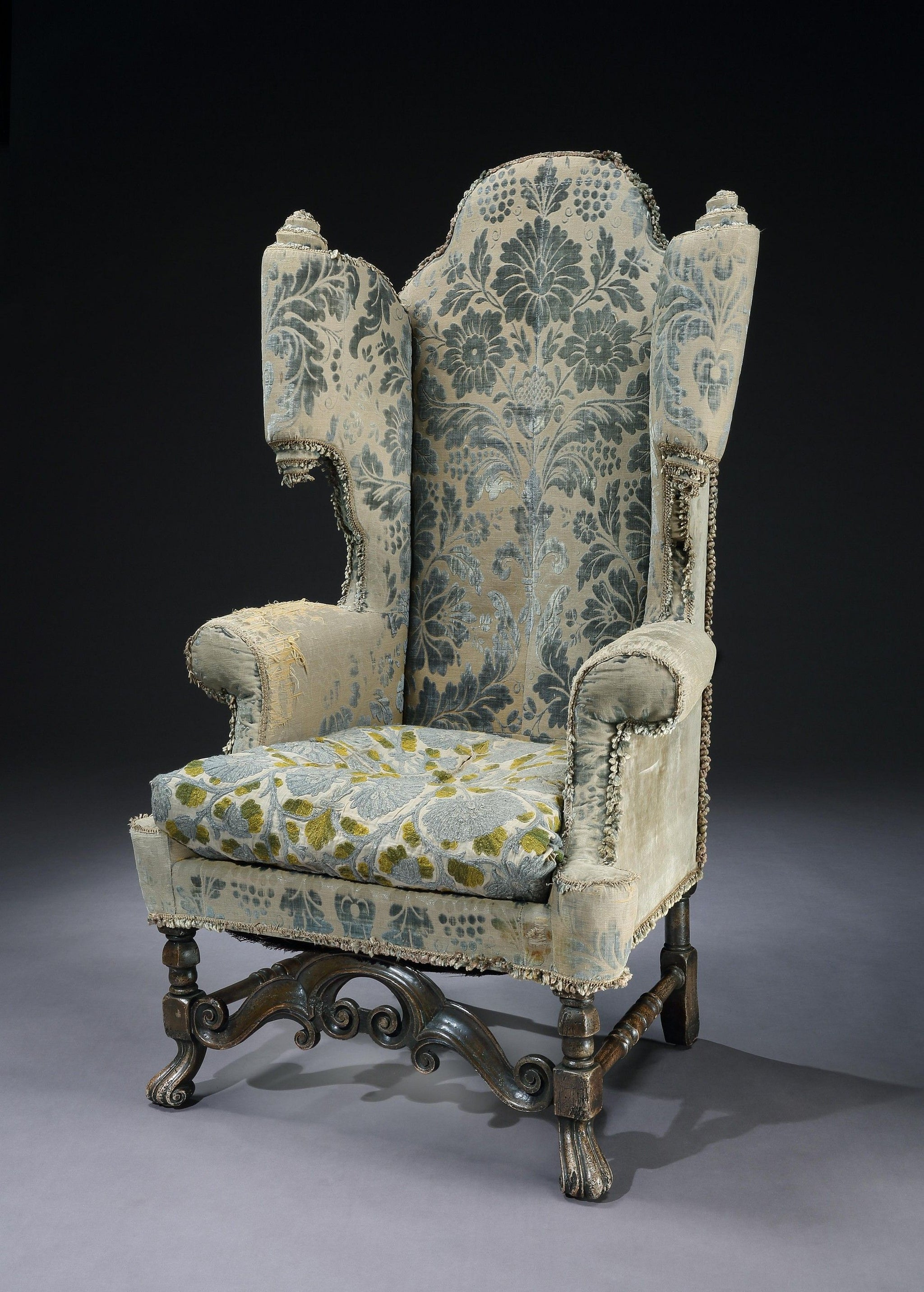 Magnificent Carolean Style Scroll Wing Armchair