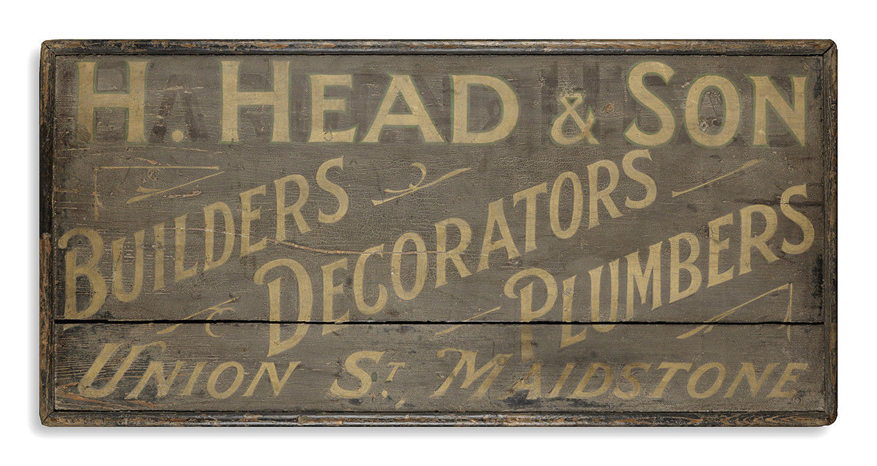 "Folk Art Trade Sign ""Builders Plumbers Decorators"""