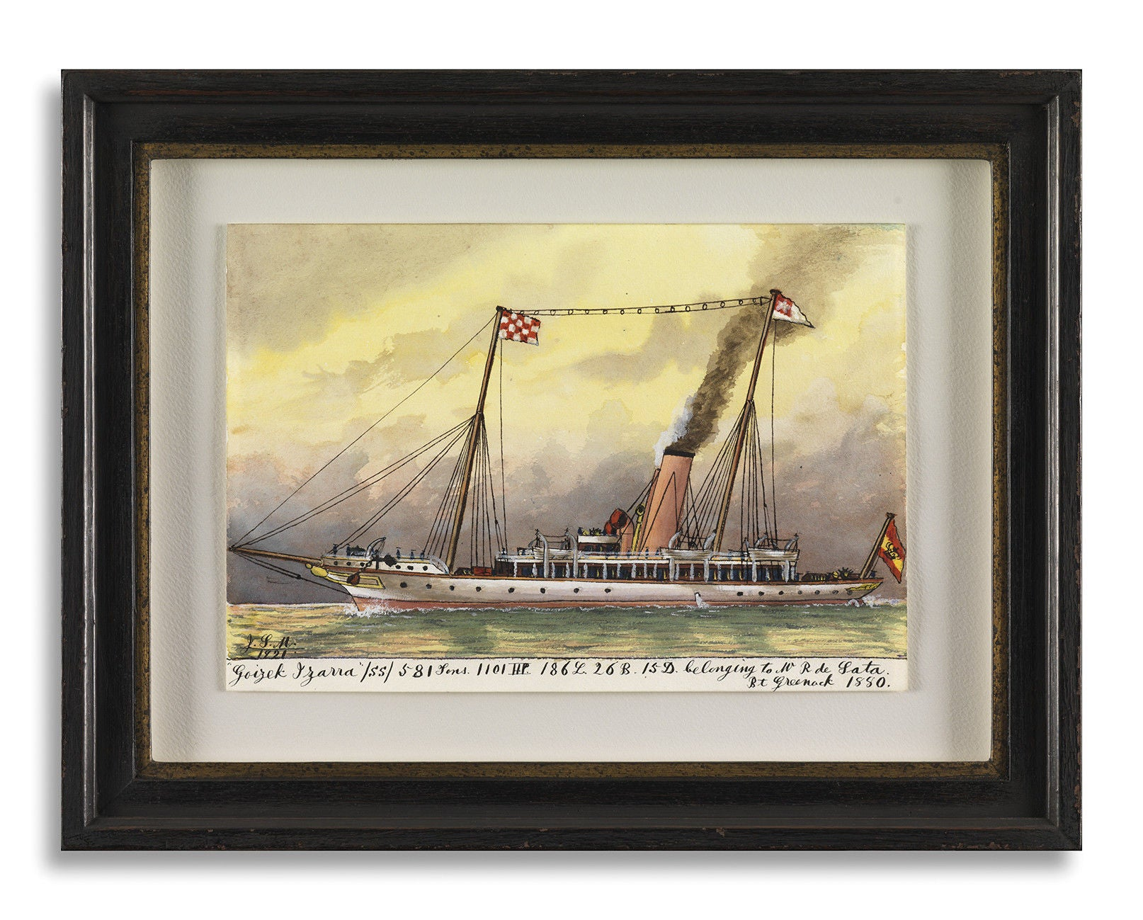 Set of 4 British Naïve Ship Pierhead Paintings