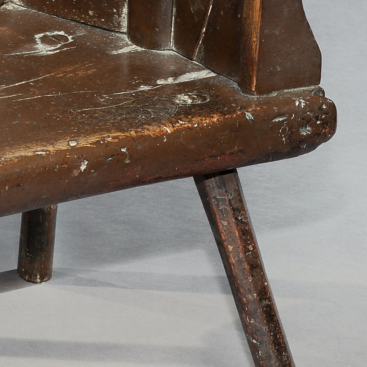 Rare and Sculptural Shepherd's Windsor Plank Chair