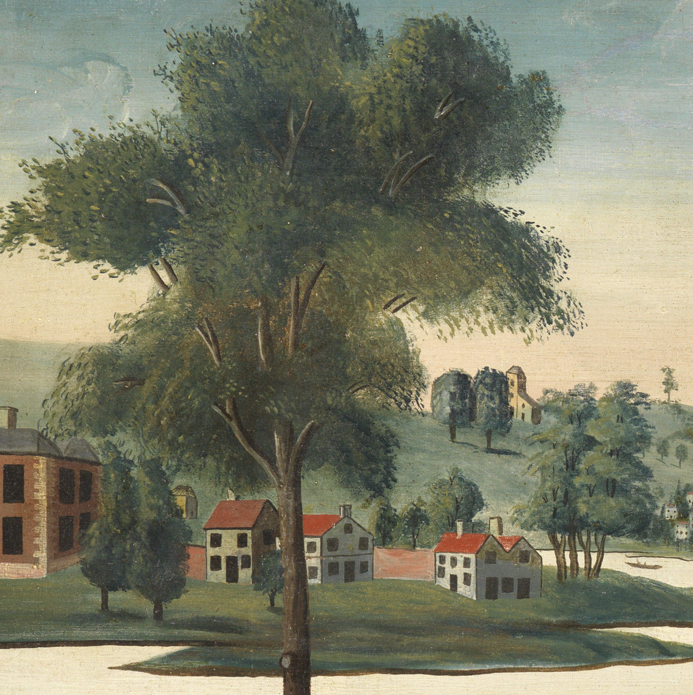 Exceptional English Naive School Overmantel Landscape