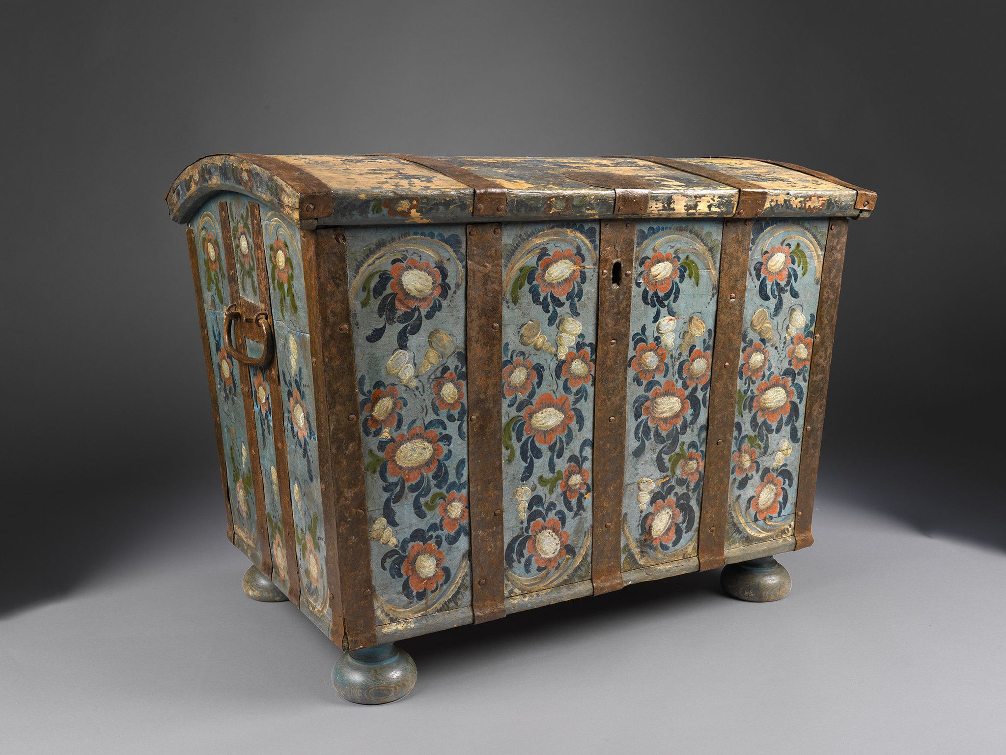 Fine Early Paint Decorated Folk Art Marriage Chest
