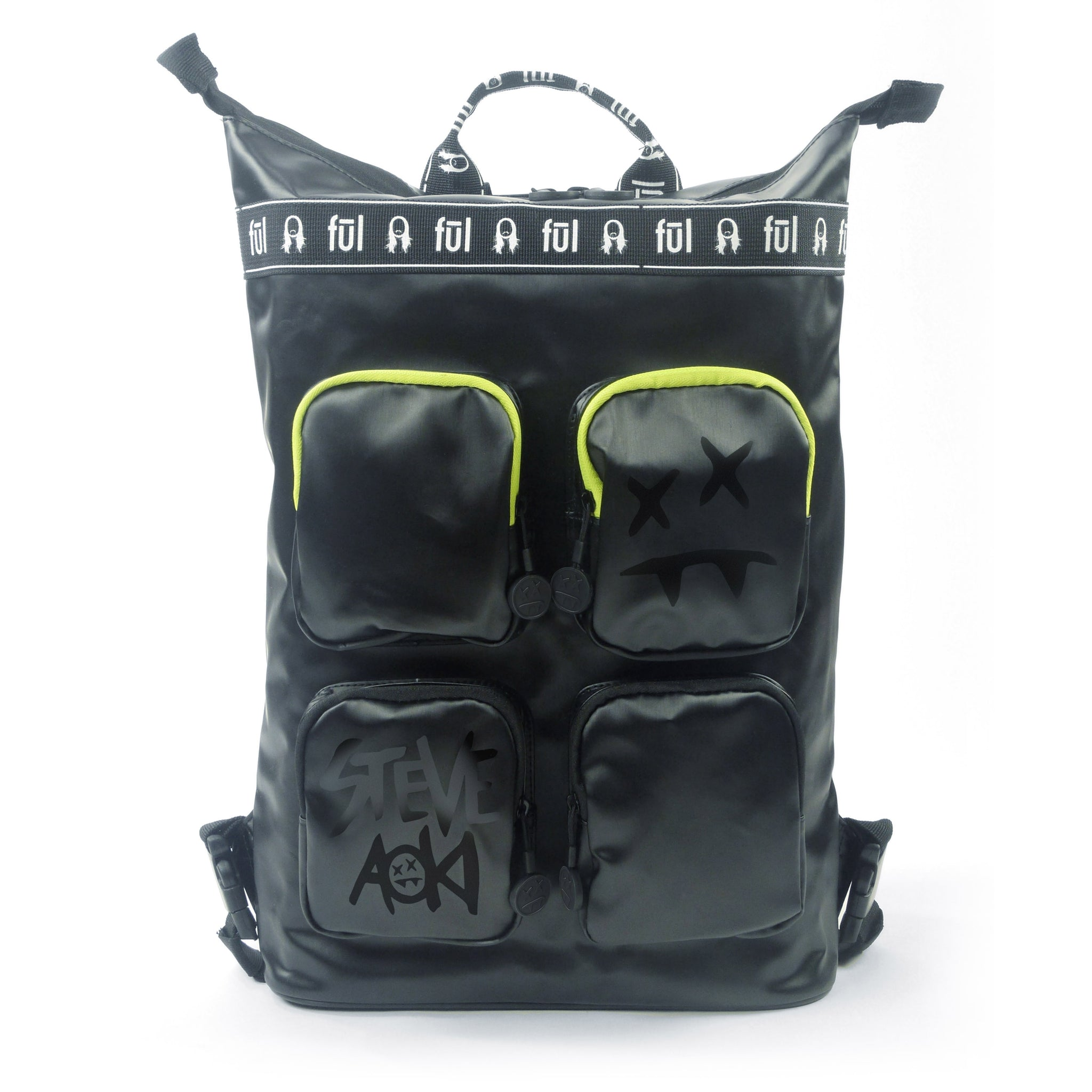 Steve Aoki FŪL FANG Convertible Backpack Tote - Black/Neon Green