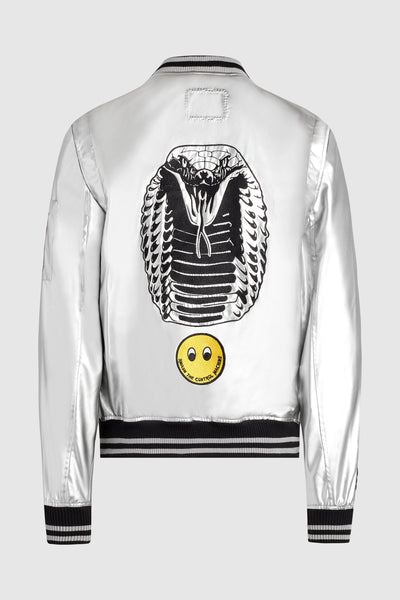 Dim Mak vs. Sex Pistols Silver Leather Bomber Jacket #18