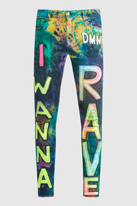 TIE DYE I WANNA RAVE JEANS #203