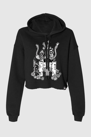 Crash Into Me Women's Cropped Hoodie - Black