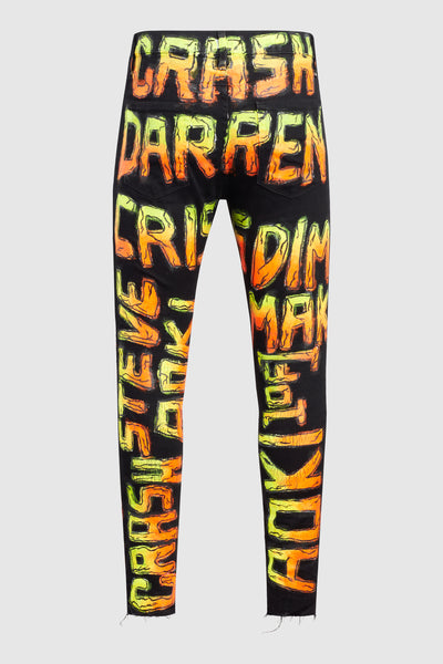 Steve Aoki + Darren Criss Crash Painted Black Jeans #51