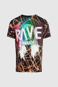 Aoki Rave Black Bleach Swirl Tee #44