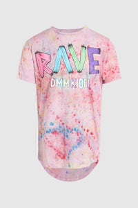 DMMK Rave High Low Pink Rainbow Swirl Tee #47