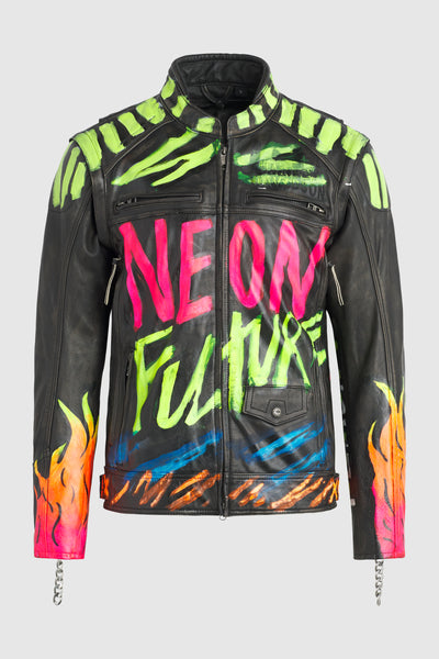 Neon Future Moto Leather Jacket #107 (archival)